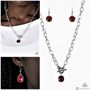 Red Necklace and Earrings Set Front Toggle Clasp